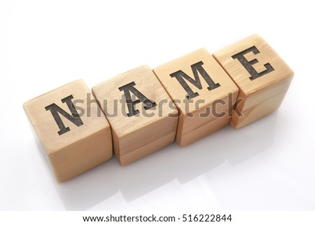 NAME word made with building blocks isolated on white Royalty-Free Stock Photo #516222844
