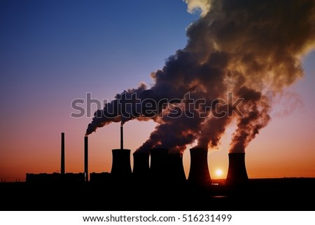 coal fired power station silhouette at sunset, Pocerady, Czech republic #516231499