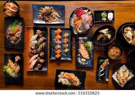 Japanese favorite menu food set on wooden background #516310825