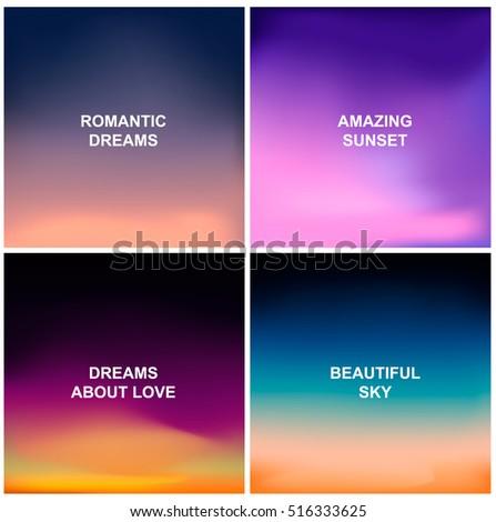 Set of four blurred backgrounds. Sunset and sunrise background. Vector illustration