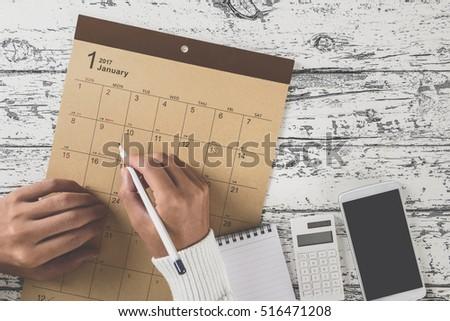 Calendar table photo