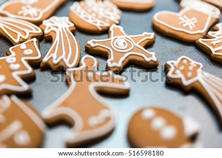 Decorated various  gingerbread cakes #516598180