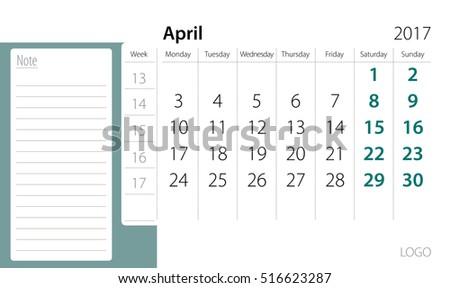 Calendar template of April 2017 #516623287