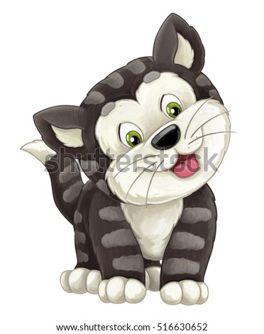 Cartoon happy cat is standing smiling and looking - artistic style - isolated - illustration for children