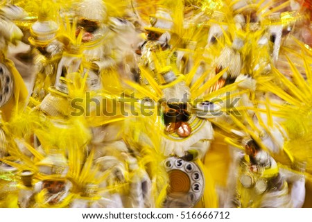 A Samba school parades in the Sambadrome in Carnival