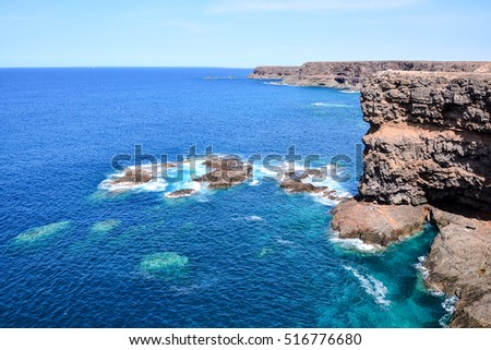 Spanish View Landscape in Fuerteventura Tropical Volcanic Canary Islands Spain #516776680