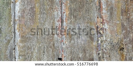 Wide Rustic Vintage Horizontal Empty Wood Plank Board Brown Grey Background. Exterior Or Interior Vintage Wooden Blank Texture. Barn Wood Design Signboard Or Billboard Structure, Abstract Web Banner #516776698