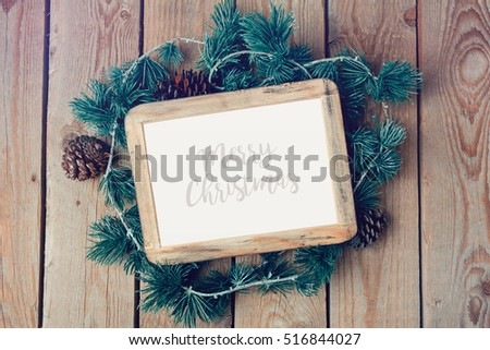 Christmas photo frame mock up template with decoration. View from above