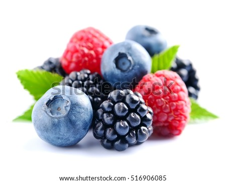 Sweet berries mix isolated on white background. Ripe raspberry and blueberries. Royalty-Free Stock Photo #516906085