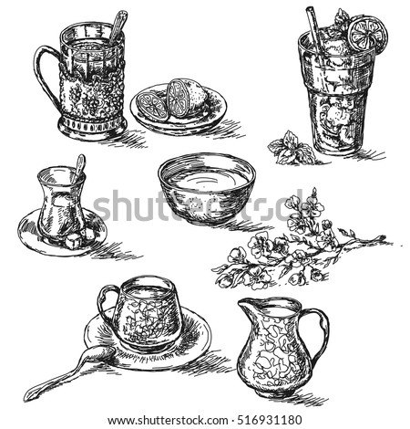 Hand drawn various teas set. Sketch of tea with lemon, sugar and milk. Glass of cold drinking with ice.