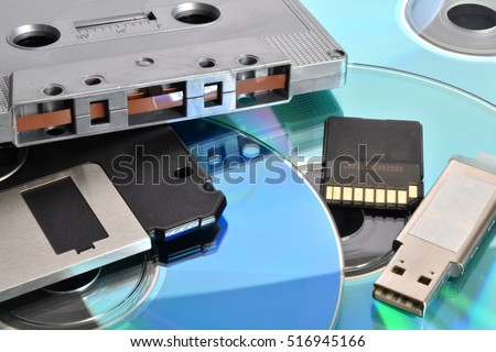 Tapes, floppy disk, cd, pen drive, memory card. Old and modern technology.