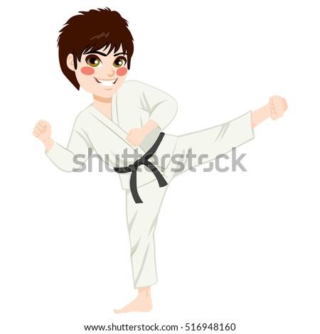 Young teenager black belt karate kid practicing kick exercise #516948160
