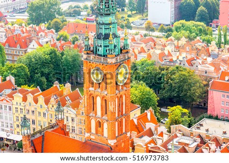 Aerial cityscape view on the old town of Gdansk in Poland #516973783