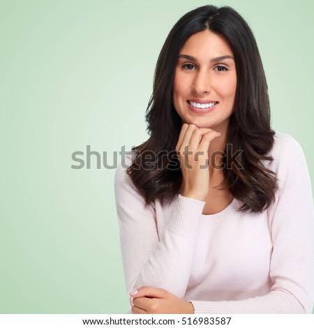 Smiling girl portrait. #516983587
