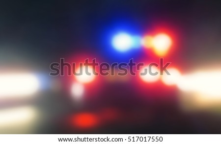 police car, cop pursuit in night blue red light