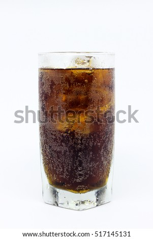 A glass of cold fresh cola with ice cubes isolated on white background #517145131