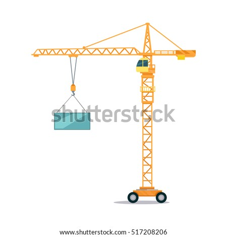 Industrial yellow crane operating and lifting generator. Modern truck crane with an upper cabin and on wheels elevating heavy glass element. White background. Flat design. Vector illustration. Royalty-Free Stock Photo #517208206