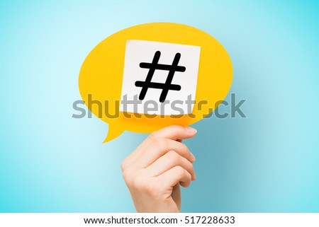 hashtag post viral web network media tag marketing trending speech bubble blogging blog website strategy concept - stock image
