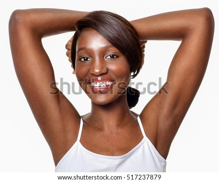 Beautiful  African-American woman. Black Beauty. Armpit's care. Armpit epilation, hair removal, perfect skin. #517237879