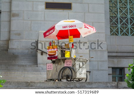 hot dogs cart in downtown Los Angeles, California #517319689