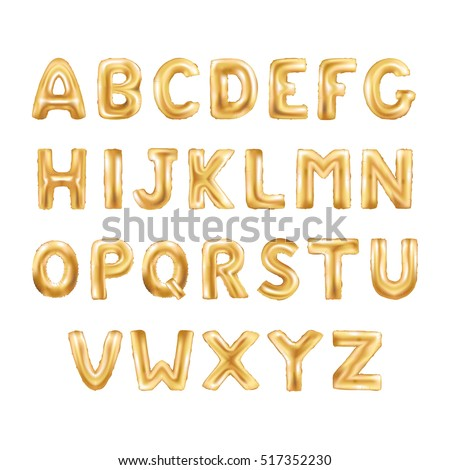 Metallic Gold ABC Balloons, golden letter alphabeth. Gold type Balloons for Text, Letter, new year, holiday, birthday, celebration. Golden shiny bright font in the air.