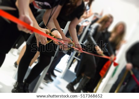 store grand opening - cutting red ribbon #517368652