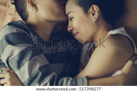 LGBT Lesbian Couple Moments Happiness Concept #517398277