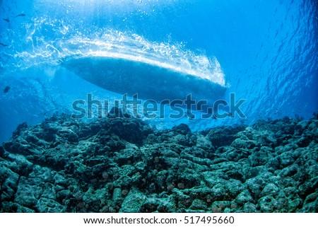 marine engine propeller underwater while diving detail close  #517495660