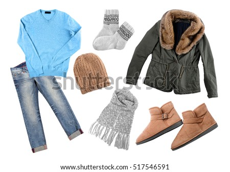 Set of stylish winter clothes on white background. Style and fashion concept.