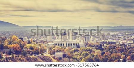 Vintage toned panoramic picture of Salt Lake City skyline, Utah, USA.