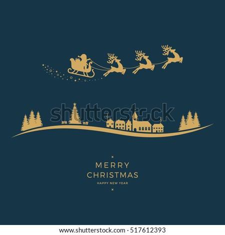 winter village santa sleigh flying golden