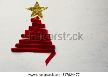 christmas tree made from ribbon #517624477