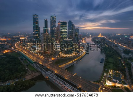 MOSCOW, RUSSIA - AUG 3, 2016: Skyscrapers of Moscow City business complex at morning. Moscow International Business Center Moscow City includes 20 futuristic buildings #517634878