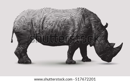 Vector rhinoceros illustration. Polygon shape line art.