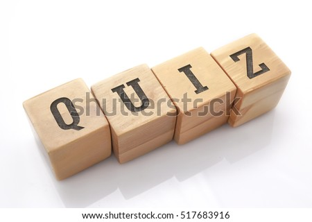 QUIZ word made with building blocks isolated on white