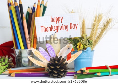 Beautiful Happy Thanksgiving Day card.  cute happy cartoon of turkey bird colorful made by kids from cone pencils. vintage filter