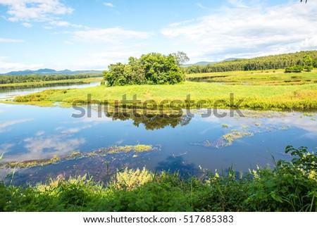 Landscape View of Mae Puem Reservoir, Thailand #517685383