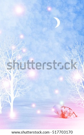 forest in the frost. Winter landscape. Snow covered trees.  #517703170