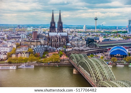 Aerial view of Cologne, Germany. Beautiful travel photo.