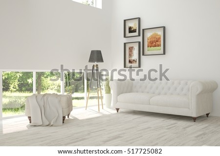 White room with sofa and green landscape in window. Scandinavian interior design. 3D illustration #517725082