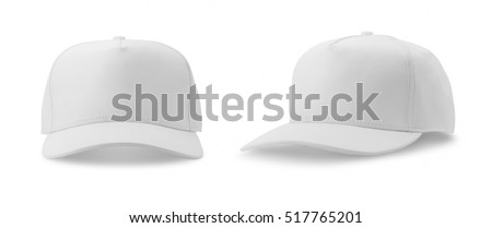 White baseball cap isolated on white background. front and side views. Royalty-Free Stock Photo #517765201
