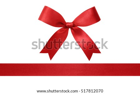 Red ribbon with bow isolated on white background. #517812070