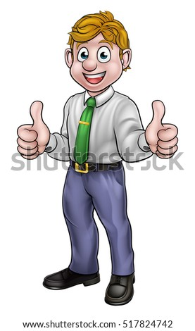 A happy man cartoon character in shirt and tie business attire giving a double thumbs up
