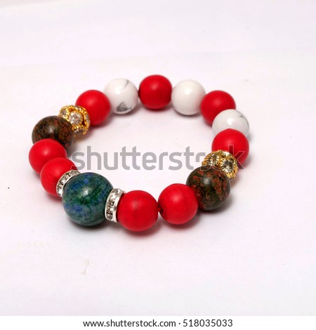 jade quartz stone red glass bracelet isolated on white background  and crystal accessories #518035033