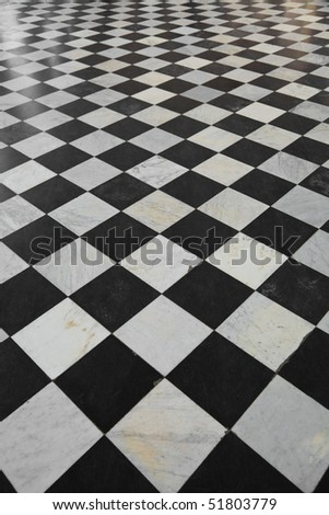 Mable floor with Black and white square pattern #51803779