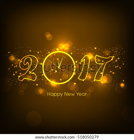 Happy new year 2017 Text Design vector. #518050279