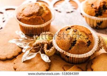 three homemade muffins for christmas breakfast #518084389