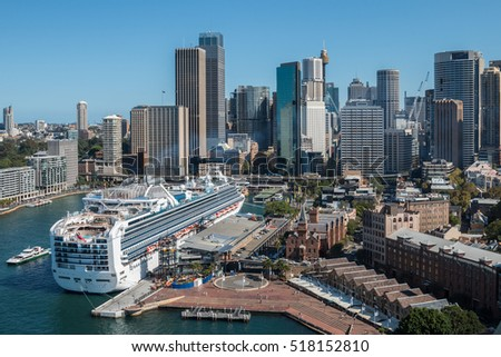 View of the Sydney Harbour Bridge road leading to Sydneys CBD and Circular Quay from the Eastern Pylon Lookout  Royalty-Free Stock Photo #518152810