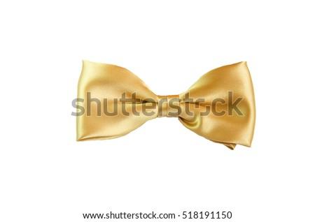 Golden yellow satin Bow Tie for Kids Children Men Man women on white background golden bowl #518191150