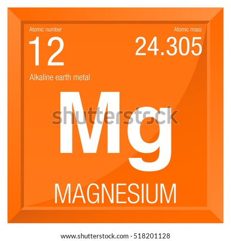 Magnesium symbol. Element number 12 of the Periodic Table of the Elements - Chemistry - Square frame with orange background #518201128